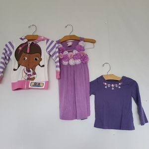 Doc McStuffins sweater + purple dress and top